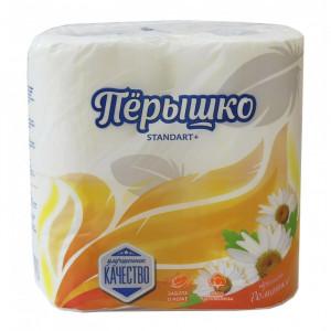 """Бумага туалетная """"Пёрышко"""" Camilla 2 слойная 4 рулона"""