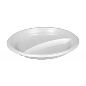 Тарелка плоская D205 мм 2-х секционная белая Эконом (Атлас)