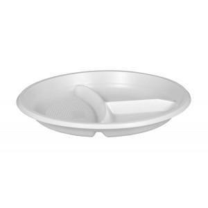 Тарелка плоская D205 мм 3-х секционная белая Эконом (Атлас)